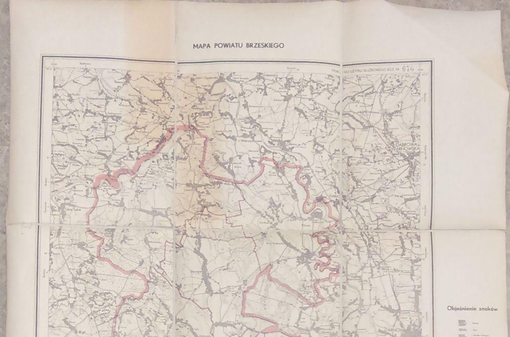 Mapa powiatu brzeskiego z1954 r.